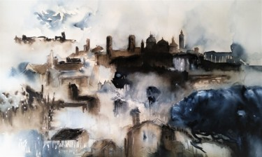 City Painting, watercolor, impressionism, artwork by Benny Smet