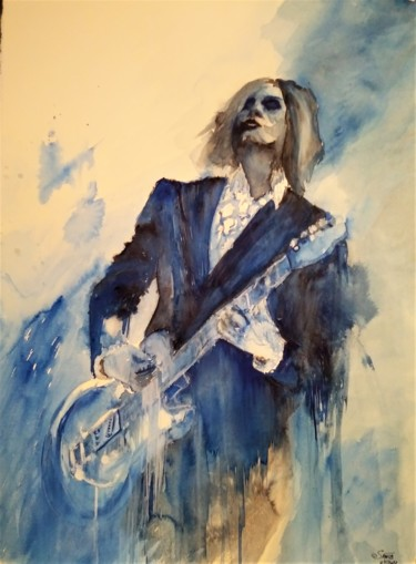 Musicians Painting, watercolor, figurative, artwork by Benny Smet