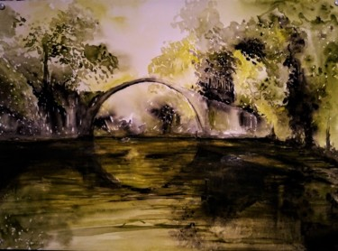Landscape Painting, watercolor, impressionism, artwork by Benny Smet