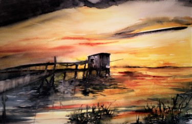 Seascape Painting, watercolor, figurative, artwork by Benny Smet