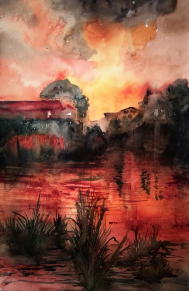 Countryside Painting, watercolor, expressionism, artwork by Benny Smet