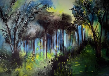 Forest Painting, watercolor, expressionism, artwork by Benny Smet