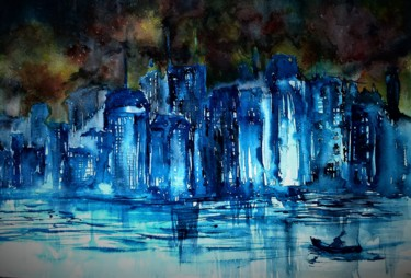 City Painting, watercolor, expressionism, artwork by Benny Smet
