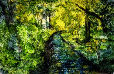 Forest Painting, watercolor, impressionism, artwork by Benny Smet