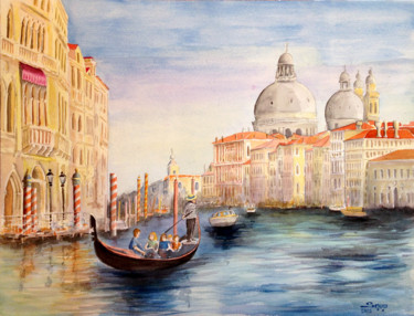 """Painting titled """"Le Grand Canal, Ven…"""" by Snop, Original Art, Watercolor"""