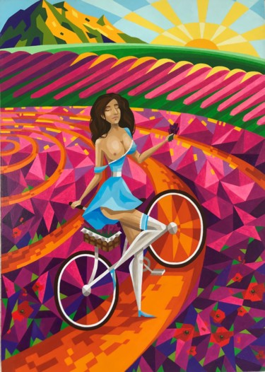 """Painting titled """"Freedom"""" by Apollonas Soben, Original Art, Oil Mounted on Stretcher frame"""