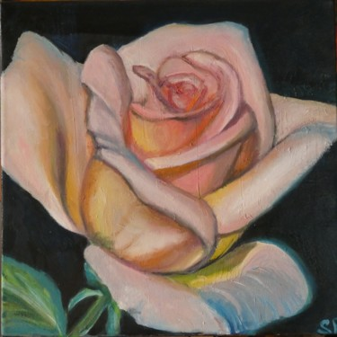 """Painting titled """"Pink rose"""" by Sofia Gasviani, Original Art, Oil"""