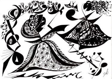"""Drawing, ink, expressionism, artwork by Solveig Marty """"Sol"""""""