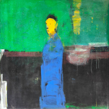 """Painting titled """"Loneliness in City…"""" by Somnath Singh, Original Art, Acrylic"""