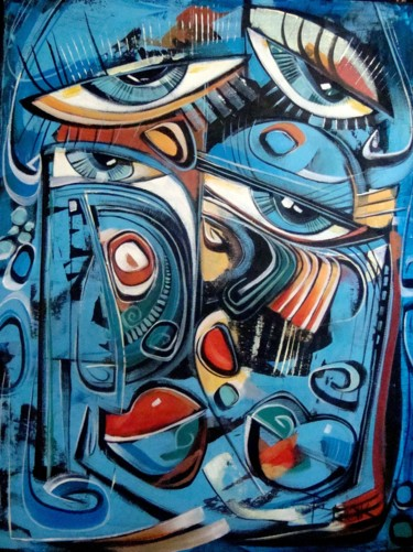 """Painting titled """"BLUE ABSTRACT II"""" by Sonja Brzak, Original Art, Acrylic"""