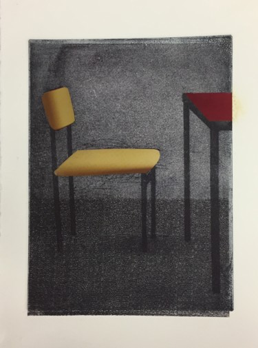 """Printmaking titled """"Red Formica Table"""" by Sophie Cordery, Original Art, Etching"""