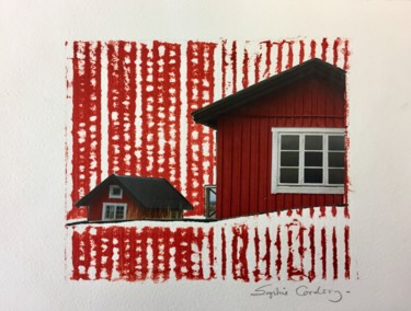 """Printmaking titled """"Red Cabins in the S…"""" by Sophie Cordery, Original Art, Monotype"""