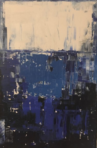 """Painting titled """"Abstract blue"""" by Hervé Souffi, Original Art, Acrylic"""