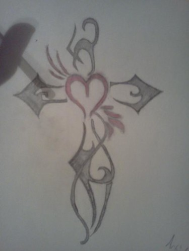 """Drawing titled """"Heart knive cross"""" by Amber Escutia, Original Art, Other"""