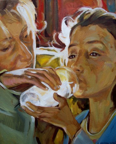 """Painting titled """"Give water to the t…"""" by Stan Bigda, Original Art, Oil Mounted on Stretcher frame"""