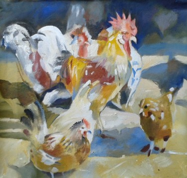 """Painting titled """"Roosters and Hens"""" by Stan Bigda, Original Art, Oil"""