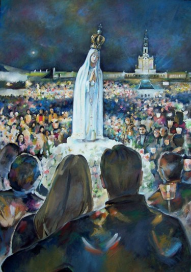 """Painting titled """"Fatima Candlelight…"""" by Stan Bigda, Original Art, Oil"""