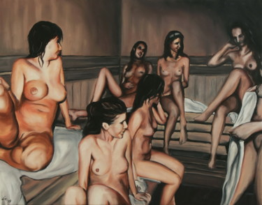 """Painting titled """"Sauna"""" by Stanimir Stoykov, Original Art, Oil"""