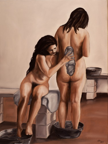 """Painting titled """"Bath"""" by Stanimir Stoykov, Original Art, Oil"""