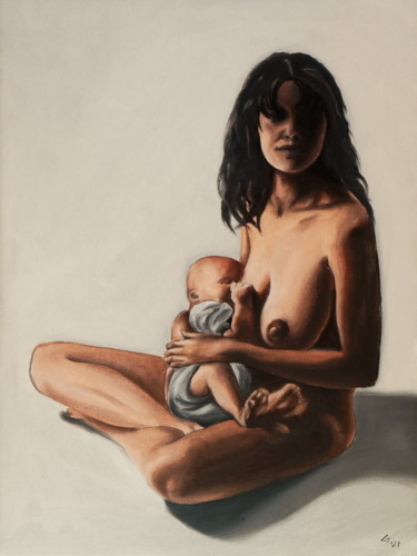 """Painting titled """"A mother is breastf…"""" by Stanimir Stoykov, Original Art, Oil"""