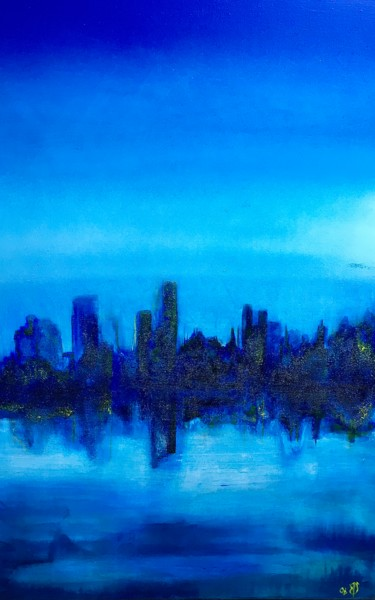 """Painting titled """"NYC"""" by Ann Schirmeyer, Original Art, Acrylic Mounted on Stretcher frame"""