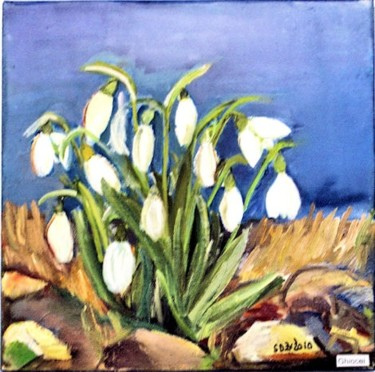 """Painting titled """"Snowdrops"""" by Steluta Dumitrescu Zelici, Original Art,"""