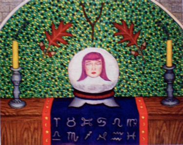 """Painting titled """"The Crystal Ball"""" by Stephen Warde Anderson, Original Art, Gouache Mounted on Wood Panel"""