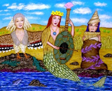 """Painting titled """"Seaside Trio"""" by Stephen Warde Anderson, Original Art, Acrylic Mounted on Other rigid panel"""