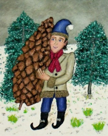 """Painting titled """"Pine-Cone Fairy"""" by Stephen Warde Anderson, Original Art, Acrylic Mounted on Other rigid panel"""