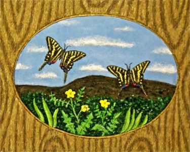 """Painting titled """"Zebra Swallowtails"""" by Stephen Warde Anderson, Original Art, Acrylic Mounted on Other rigid panel"""
