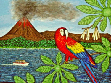 """Painting titled """"Scarlet Macaw at Ar…"""" by Stephen Warde Anderson, Original Art, Acrylic Mounted on Other rigid panel"""