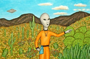 """Painting titled """"Gray Alien Explores…"""" by Stephen Warde Anderson, Original Art, Acrylic Mounted on Other rigid panel"""