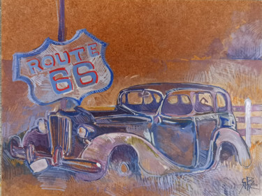 """Painting titled """"ROUTE 66"""" by Stephane Cazenave, Original Art, Acrylic"""