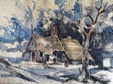 """Drawing titled """"Campagne hollandaise"""" by Stephane Cazenave, Original Art, Watercolor"""