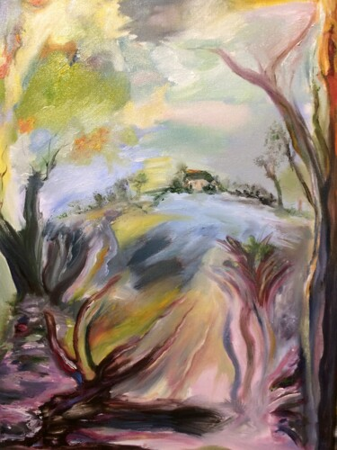 Countryside Painting, oil, expressionism, artwork by Steve Phillips