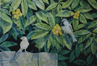 """Painting titled """"Sparrows in a Loqua…"""" by Steven Hawke, Original Art,"""