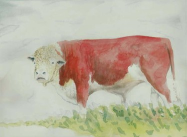 """Painting titled """"Hereford Bull by St…"""" by Steven Hawke, Original Art,"""