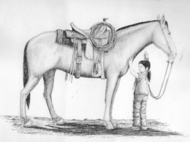 """Painting titled """"Girl Holding Horse…"""" by Steven Hawke, Original Art,"""