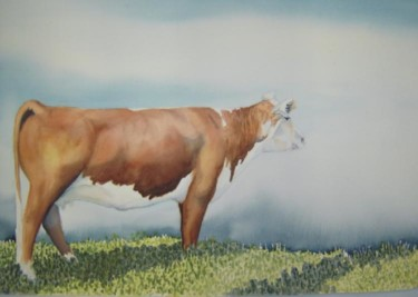"""Painting titled """"Cow on a Texas Hill…"""" by Steven Hawke, Original Art,"""