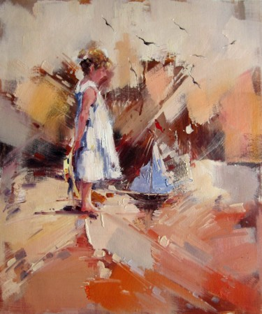 """Painting titled """"At The Beach 226"""" by Steven Johnson, Original Art, Oil Mounted on Stretcher frame"""