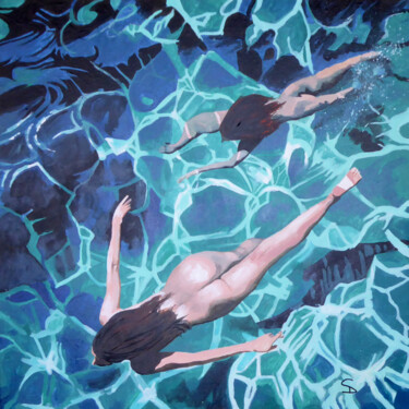 """Painting titled """"Swimmers Delight"""" by Stuart Dalby, Original Art, Acrylic"""