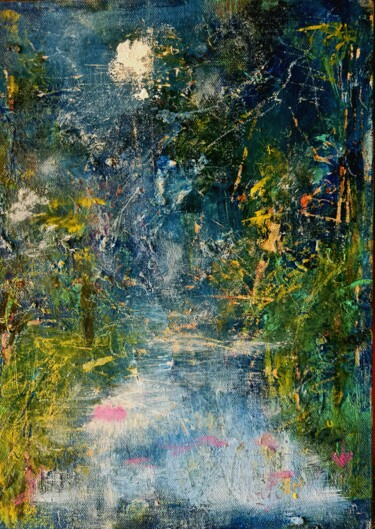 """Painting titled """"Moon Shadows"""" by Suchitra Lata, Original Art, Acrylic Mounted on Wood Panel"""