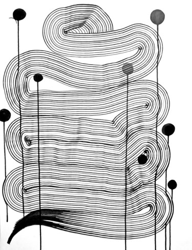 """Drawing titled """"Composition no. 255"""" by Sumit Mehndiratta, Original Art, Ink"""