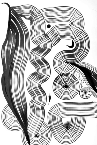 """Drawing titled """"Composition no. 277"""" by Sumit Mehndiratta, Original Art, Ink"""