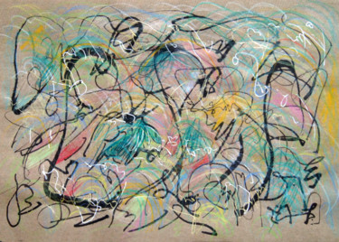 """Drawing titled """"The Taste Of Green…"""" by Lina Stern, Original Art, Conté"""