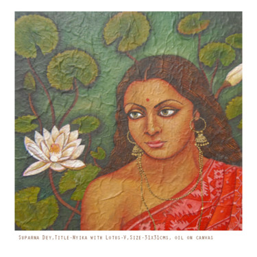 """Painting titled """"Nyika with Lotus"""" by Suparna Dey, Original Art, Oil"""