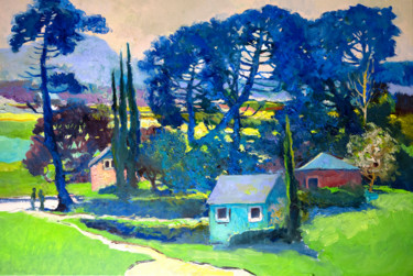 """Painting titled """"Landscape with Blue…"""" by Suren Nersisyan, Original Art, Oil"""