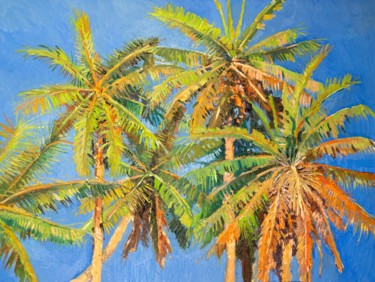 """Painting titled """"Coconut Palm Trees"""" by Suren Nersisyan, Original Art, Oil"""