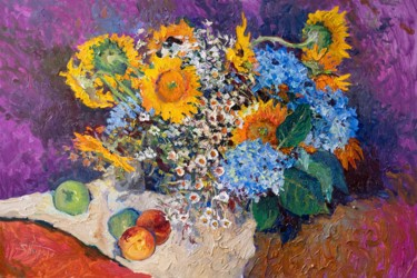 """Painting titled """"Bouquet with Sunflo…"""" by Suren Nersisyan, Original Art, Oil"""