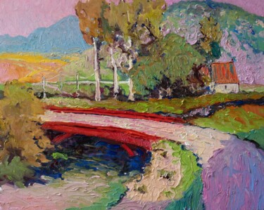 """Painting titled """"Landscape with Pink…"""" by Suren Nersisyan, Original Art, Oil Mounted on Stretcher frame"""